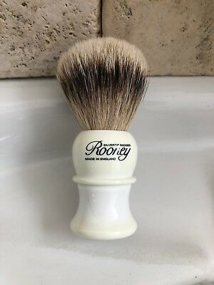 R.A. Rooney Shaving Brush, Small Silver Tip Badger Hair Shaving Brush in white