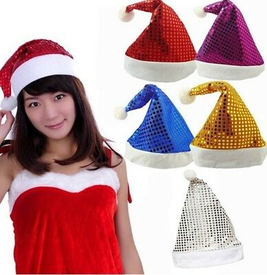 Adult Sequin Xmas Hats Christmas Red Silver Gold Santa Fancy Dress Costume Uk