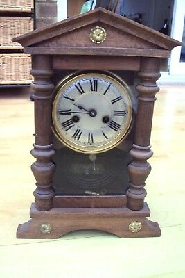 Antique Wooden Mantel 12 Hour Clock In Need Of Tlc Was Working Well.