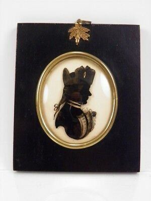 Silhouette portrait miniature painting on glass navy gentleman antique 39