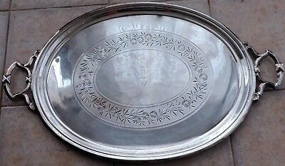 Antique Silver Plate Large Butler's Oval Handled Tray Flower Garland Etched