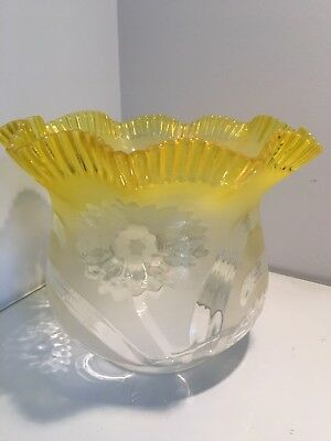 bright yellow with frilly ruffles oil lamp shade