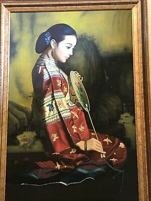 Chinese Asian Lady Large Original Oil Painting on Canvas W/ Frame-High Quality