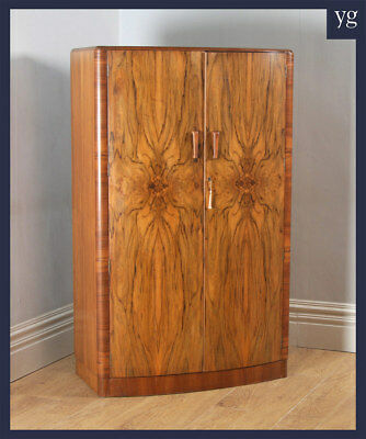 Antique English Art Deco Figured Walnut Bow Front Two Door Compactum Wardrobe