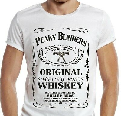 e667a9be232 Peaky Blinders T-shirt Gangster Thomas Shelby Whiskey Men tv bottle pub  beer gun