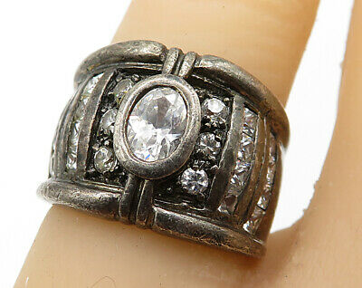 925 Sterling Silver - Vintage Art Deco Cubic Zirconia Accent Ring Sz 5 - R4090