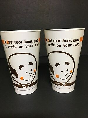 A&w Root Beer Plastic Cup Lot Rare Advertising Amoco Burger Family