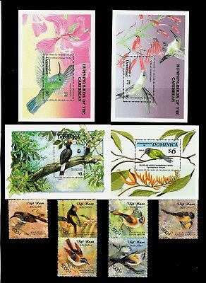BIRDS Thematic STAMP Colllection Inc 4 DIMINICA Mini Sheets REF:TS567