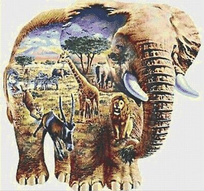 Elephant Collage - Cross Stitch Chart