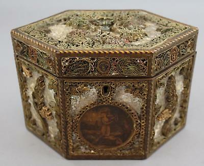 18thC Antique George III Quillwork Rolled Paper MOP Miniature Painting Tea Caddy