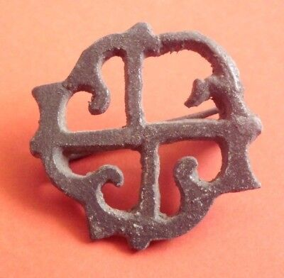 Ancient Roman Swastika Solar Bronze Fibula Brooch - 100 Ad - Beautiful!