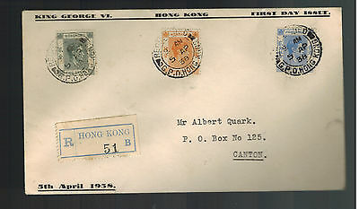 1938 Hong Kong First Day Cover to Canton China King George 6 KGVI FDC