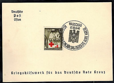 1940 Warsaw Poland Germany GG Souvenir Postcard cover War Relief for Red Cross