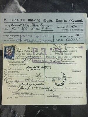 1931 Kaunas Lithuania Receipt Of Payment Cover Banking House