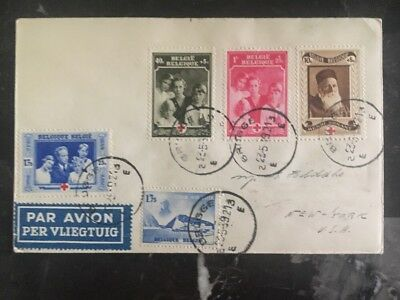 1939 Belgium First Flight Cover FFC France to New York USA Red Cross Stamps