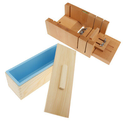 Silicone Soap Mold Wooden Soap Cutter Box Loaf Cake Mold Wire Cutting Slicer