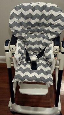 High Chair Cover for Peg Perego High Chair~Grey & White Chevron Pattern
