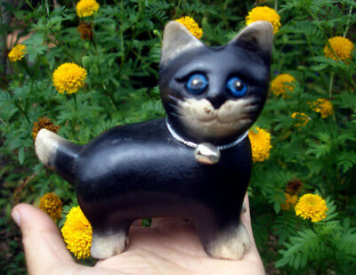 Hand Carved Wooden Black Cat Figurine Crafted Wood Kitty Kitten Blue eyes gift R