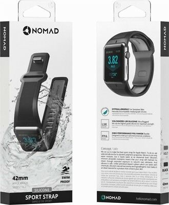 Nomad Sport Watch Strap for Apple Watch 42mm - Slate Gray on Black - In Box VG