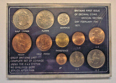 """Set of BU """"Britains First Issue of Decimal Coins"""" & Last Complete set (LOT J347)"""