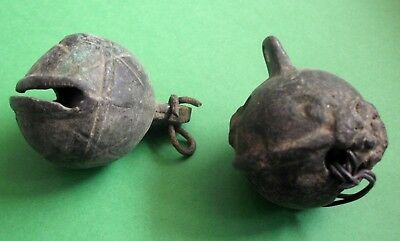 2 Pieces Ancient Celtic Druids Votive Bronze Bell Bells - 300 Bc - Rare -Working