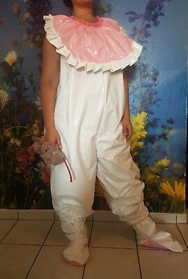Adult Baby Strampler Overall Catsuit Füße LACK PVC SCHLAFANZUG HALO KITTY GR.XL