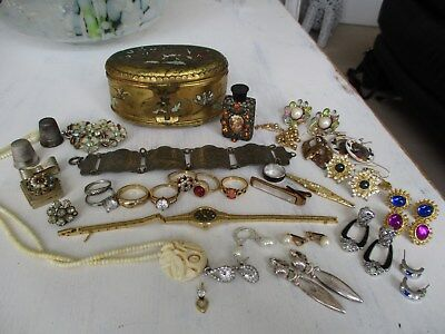 large collection of antique & vintage jewellery unusual lot..