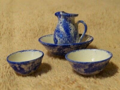 NEW Cute Miniature Set of 4 White & Blue Spongeware Dishes for DOLL HOUSE