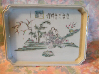 19C Chinese Export Hand Painted Porcelain Tray With Women And Window