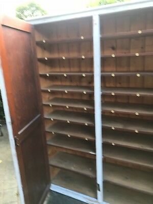 Vintage Double Cupboard/ Larder Painted Pitch Pine - shelves with numbered round