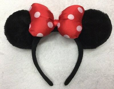 Disney Parks World Minnie Mouse Classic Red White Polka Dot Bow Ears Headband