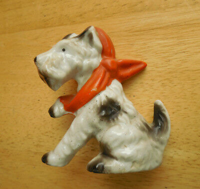 Terrier Dog with Sore Paw Leg Vintage Figurine Bandage Puppy Sling