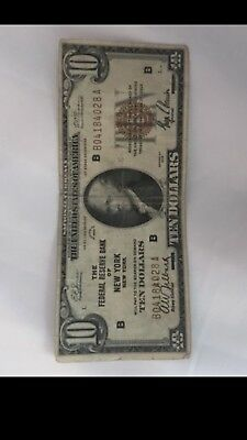 1929 $10 Dollar Bill The National City Bank of New York  National Currency