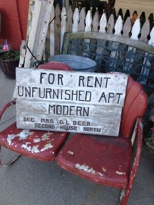 Antique Wooden Wood Apartment For Rent Sign Old Paint Folk Art Trade AAFA 31X19