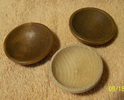 NEW Cute Miniature Lot of 3 Wooden BOWLS for DOLL HOUSE