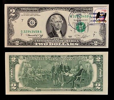 1976 Stamped $2 First Day Of Issue Federal Reserve Note Butler WI (P1407)