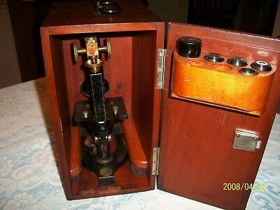 Antique Bausch & Lomb  Microscope W/original Wooden Dovetailed Box +5 Extra Eyep