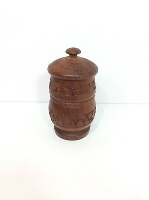 Vintage Hand Carved Wood Humidor Jar Canister Tea Caddie Tobacco Container Box