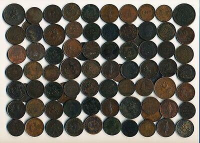 78 Old Canada Copper Tokens & Coins (1814-1914) See Images> Interesting> No Rsrv