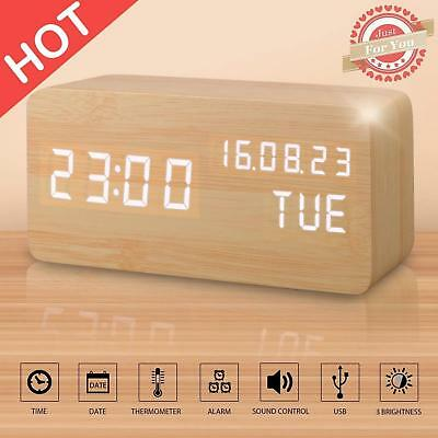 Digital Alarm Clock LED Artificial Wood Sound Activate with USB Cable