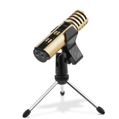 Studio Recording Microphone, Condenser Built-in Sound Card and Echo Effect Gold