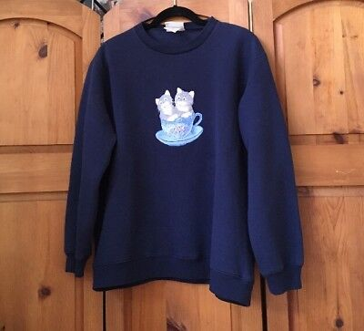 Vintage Blue Crewneck Sweater Kitten Teacup Kitchy Graphic LS Boxy 90s Pullover