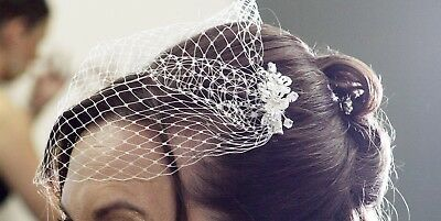 Single Tier Birdcage Face Veil With Two Crystal Clips