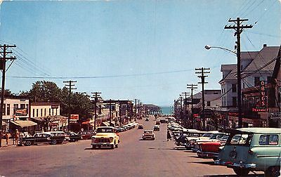 OLD ORCHARD BEACH MAINE STREET VIEW~MAIN SHOPPING DISTRICT~CARS POSTCARD c1950s
