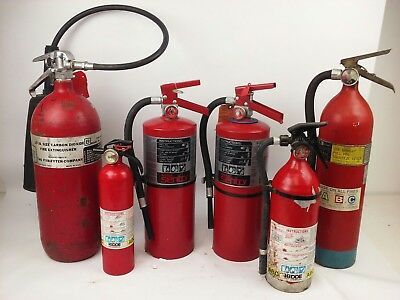 Used Fire Extinguisher (Lot Of 6) Different Sizes & Brands, Need To Be Certified