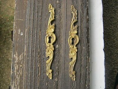 A Pair of French Vintage Rococco Bronze Keyhole Cover Escutcheon Plates