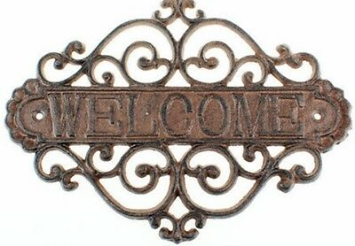 Antique WELCOME Wall Decor Sign-Cast Iron-Antique Brown-Great Way to Welcome