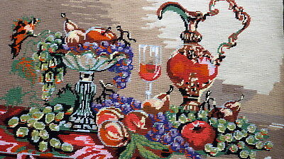 "Beautiful wool tapestry finished project ""Grapes"" - lovely work"