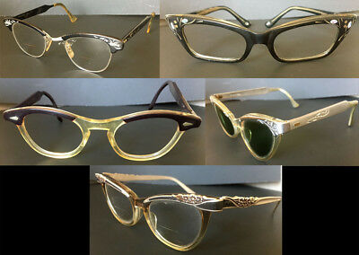 COLLECTION / LOT OF 5 Vintage Original 1950/1960's Cat Eye Glasses