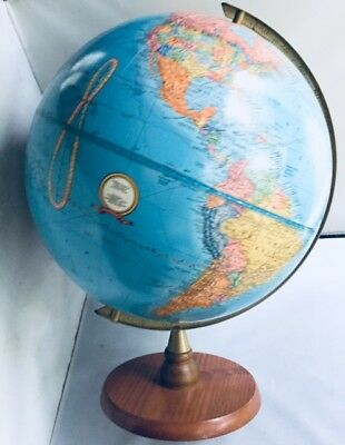 "Antique Vintage Grams 12"" World Globe W/ Raised Relief Wood Base"
